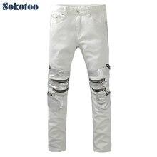Sokotoo мужская мода тонкий белый denim байкер джинсы Мужчина случайно лоскутное молнии джинсовые брюки Длинные брюки