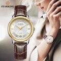 Элегантные часы STARKING с сапфировым кристаллом  автоматические ветрозащитные наручные часы с красной кожей  водонепроницаемые часы