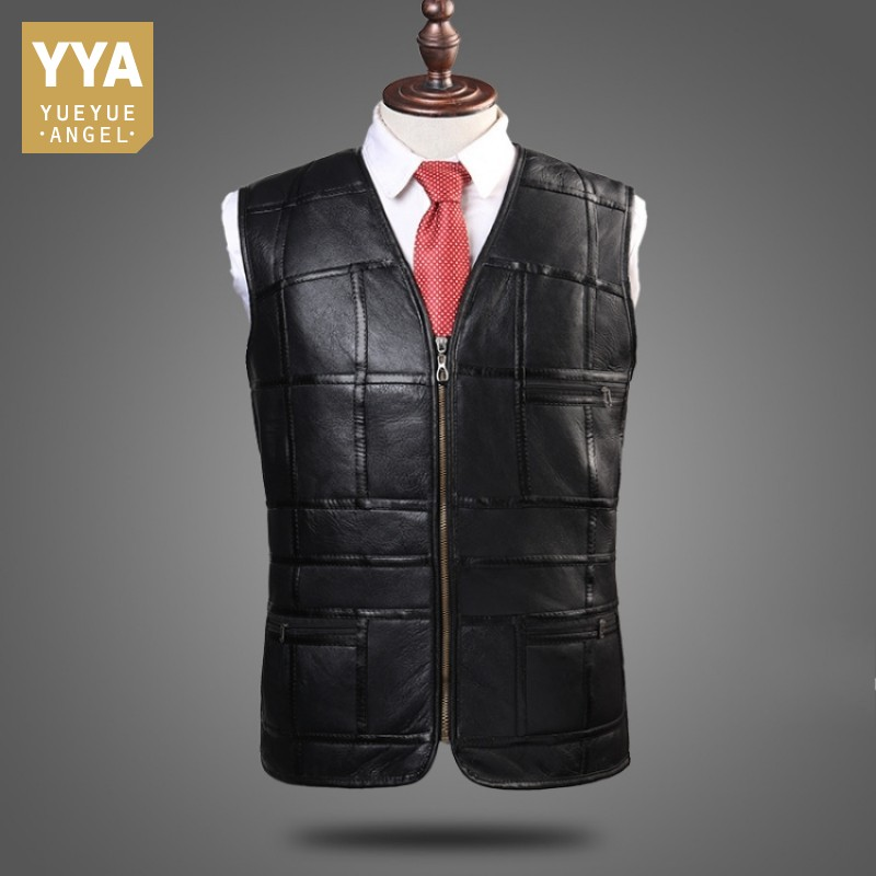 Vest Genuine-Leather Jacket Sheepskin Mens Real Man Warm Wool Suit Tank-Top Fleece High-Quality