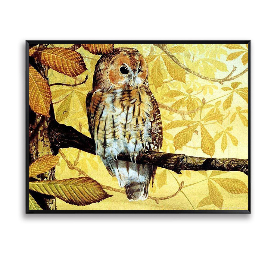 Owl Picture DIY Painting By Numbers Animals Acrylic Kits Drawing Paint On Canvas Home Decor Wall Art Picture Yellow Leaf SZH-261