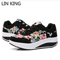 LIN KING New British Style Floral Swing Shoes Casual Women Lace Up Ankle Boots Autumn Height Increase Retro Travel Single Shoes