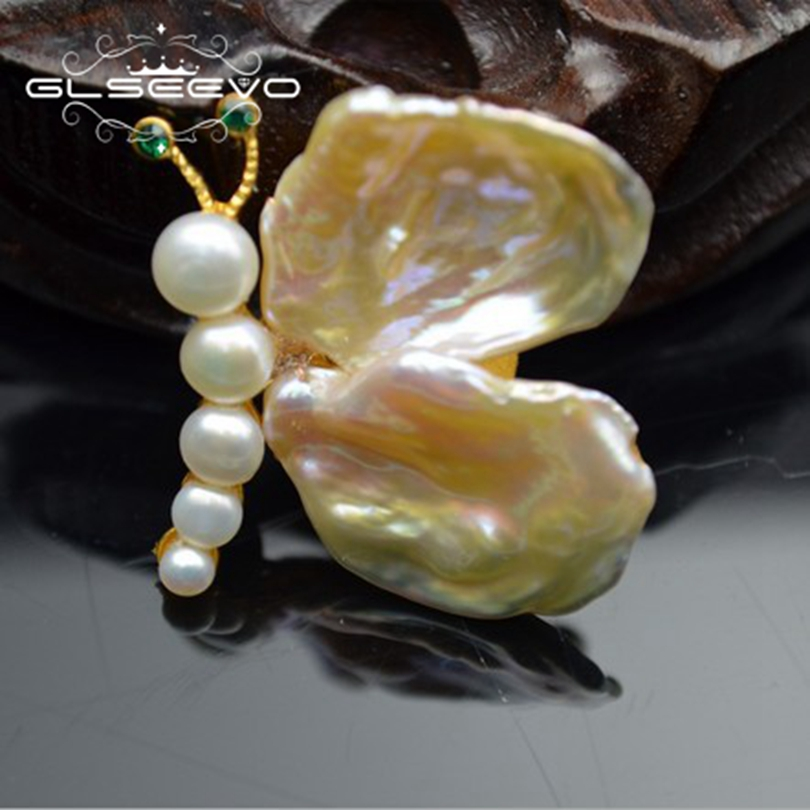 GLSEEVO Natural Fresh Water Baroque Pearl Butterfly Brooch Pin And Brooches For Women Gift Dual Use Luxury Fine Jewelry GO0248