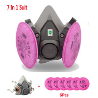 3M 6200 7 In 1 Suit Industry Pray Paint Dust Mask Respirator With 3M 2091 P100
