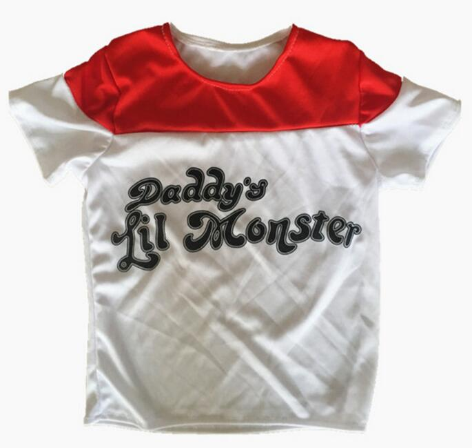 Купить с кэшбэком Kids Harley Quinn Costume Suicide Squad Harley Quin Cosplay T Shirt Jacket Clothing Set Halloween Costume For Girls