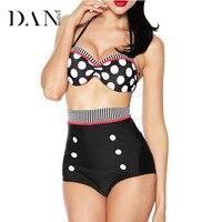 DANENJOY Sexy Plus Size Costumi Da Bagno Push Up Costume Da Bagno Donne Grasse Vita alta Bikini Dot Fascia Costume Da Bagno Biquini Brasiliano XL