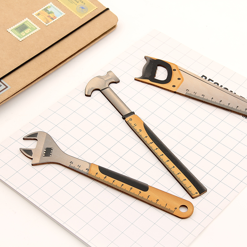 1PC Kawaii Hammer Wrench Bottle Opener Straight Ruler Measure Study Drawing Student Stationery School Office Supply Gift