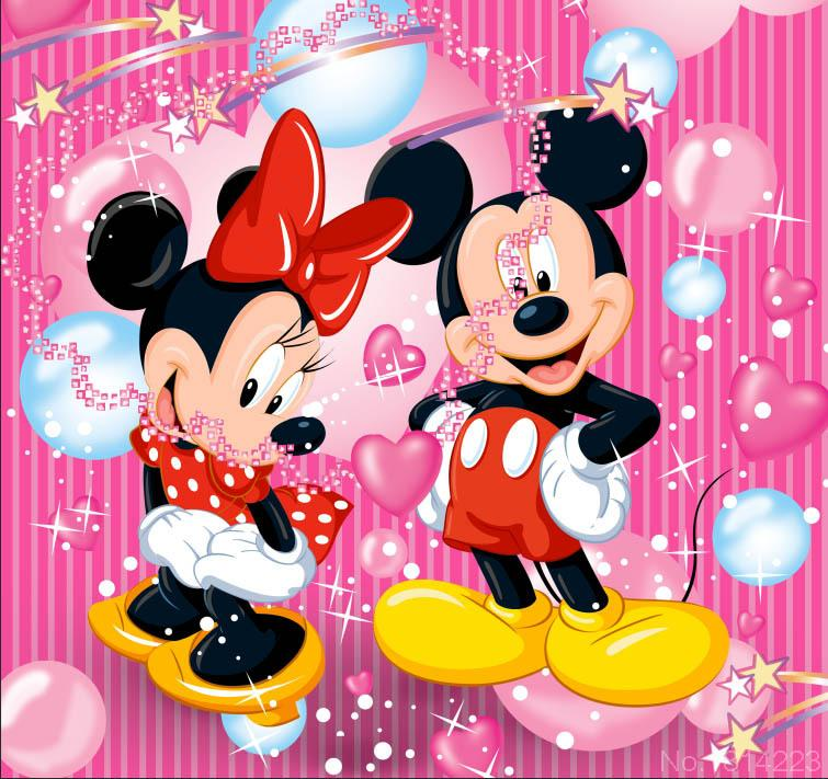 3x5ft mickey minnie mouse pink stripes wall balloons stars - Fondos de minnie mouse ...