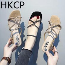 HKCP Fashion New sandals for the summer 2019 fashion versatile one-button color drill flat open-toe gladiator C361