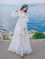 Free Shipping Good Quality Sexy Slash Collar Lace Emblished Hollow Out Two Pieces Trumpet Sleeves Woman Long Dress White