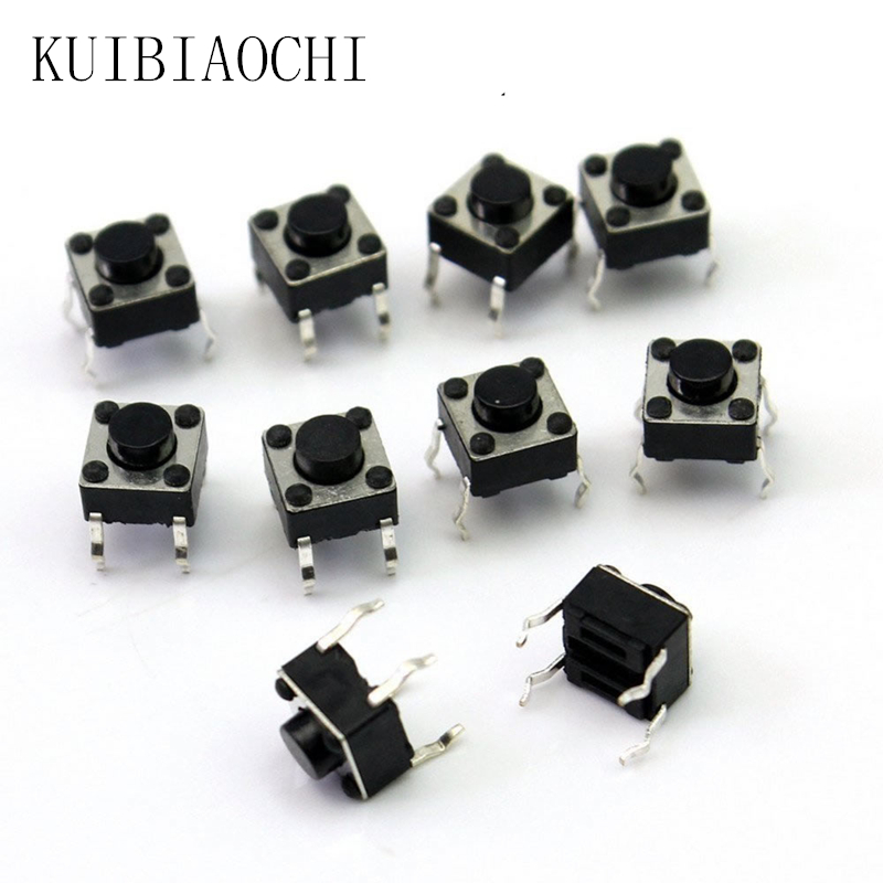 SODIAL 100 Pcs 6x6x7mm Momentary Tactile Tact Push Button Switch 4 Pin DIP Through Hole R