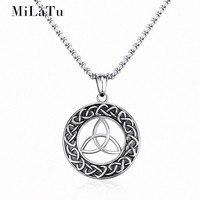 MiLaTu Round Viking Jewelry Men S Irish Celtics Knot Pendant Amulet Necklace Stainless Steel Male Jewlery