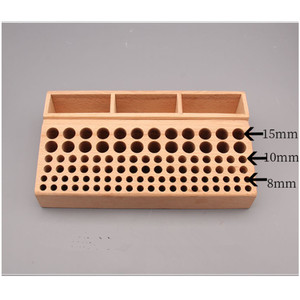 Image 2 - 98 Holes Leather Craft Tool Holder Box Wood Rack Wooden Punch Handwork Tool Stand Holder Organizer for Drill Bits Storage