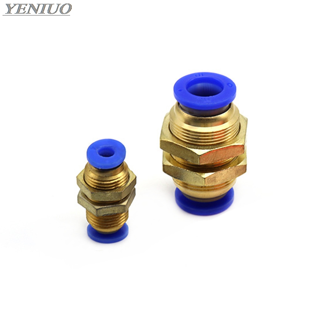 "PM"" Tube One Touch Push Into Gas Connector Brass Quick Fitting 4mm to 12mm OD Hose Air Pneumatic Straight Bulkhead Union"