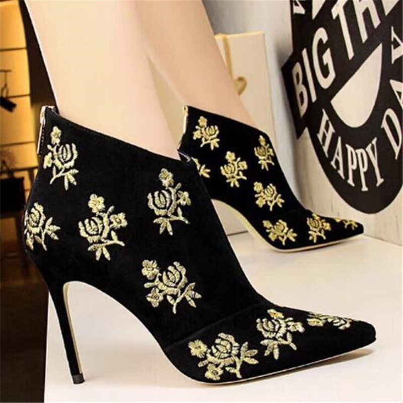 Suede Sexy Embroidered Women Boots Booties in Ankle Boots Gladiator High Heels Autumn Winter Boots Shoes Woman Pumps Botas MujerSuede Sexy Embroidered Women Boots Booties in Ankle Boots Gladiator High Heels Autumn Winter Boots Shoes Woman Pumps Botas Mujer