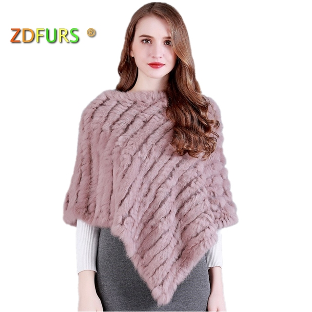 ZDFURS * Real Knitted Rabbit Fur Poncho Wrap Pashmina  scarves Female Party Pullover natural rabbit fur Shawl triangle Cape