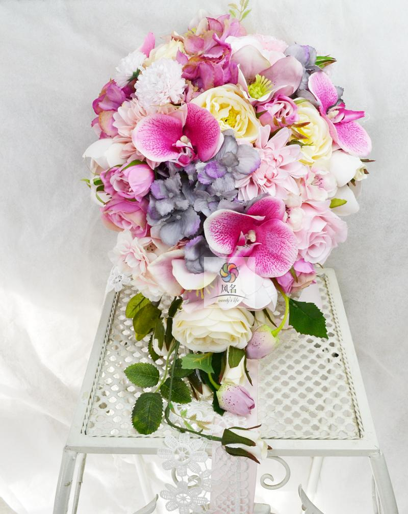 Handmade Flower Wedding Supplies Floral Bridal Bridesmaid Bouquet Pink Artificial Flowers Waterfall Style Bride Holding BouquetsHandmade Flower Wedding Supplies Floral Bridal Bridesmaid Bouquet Pink Artificial Flowers Waterfall Style Bride Holding Bouquets
