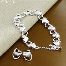 New Arrival 2017 Women 925 Silver Bracelet Earrings Fashion Jewelry Heart Charm For