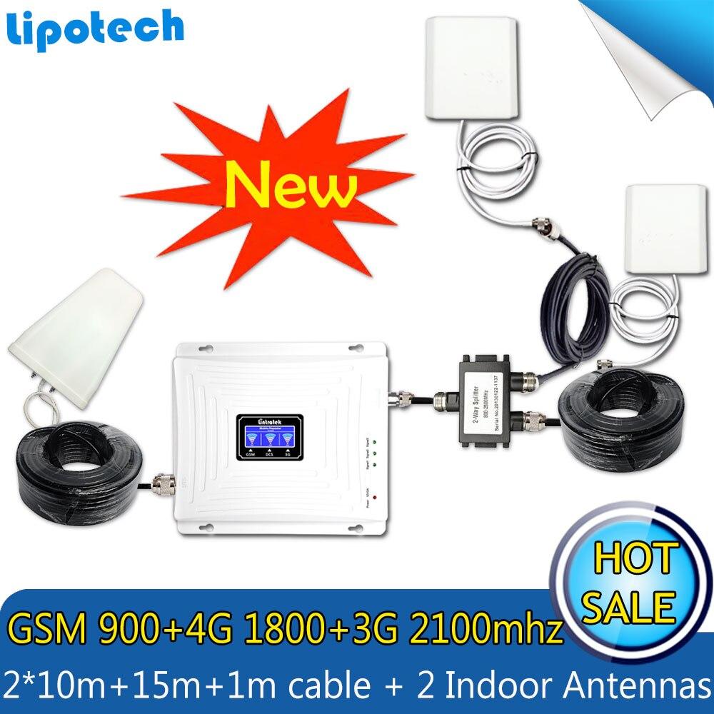 Con 2 antenas Lintratek conjunto tri-band repetidor 2G 3G 4G 900 1800 2100 MHz móvil señal de teléfono amplificador de señal celular