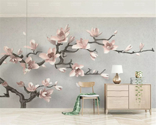 beibehang Fashion classic stereo wallpaper golden branches white flowers 3d embossed TV background