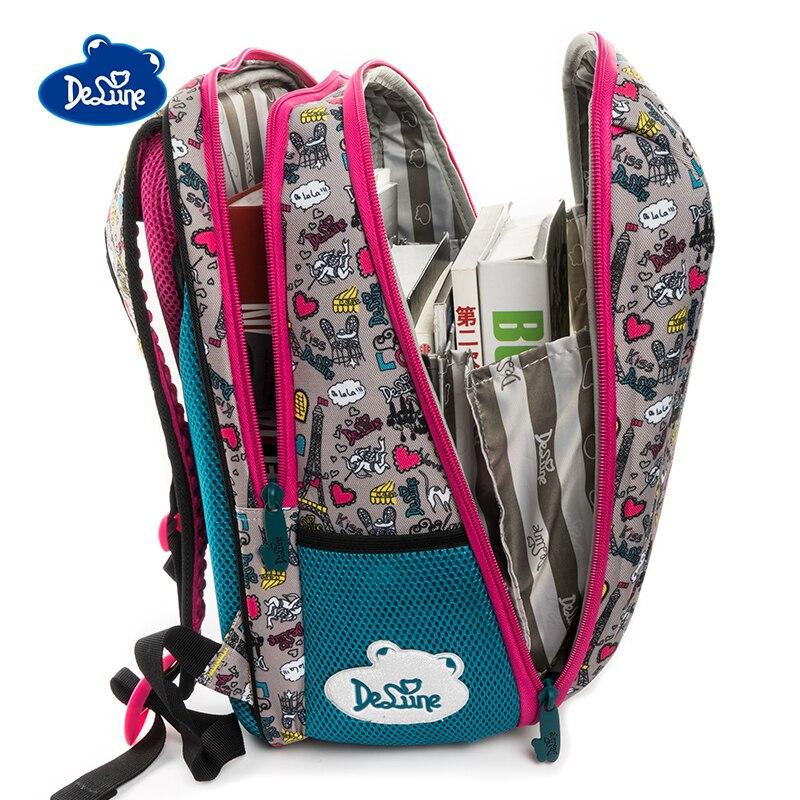 Delune Brand Orthopedic Big Boy Cartoon Schoolbag Backpack hard Butterfly pattern waterproof Children School Bag for Girls 7-125 unme children schoolbag for grade 1 3 girls backpack waterproof leather light for boy