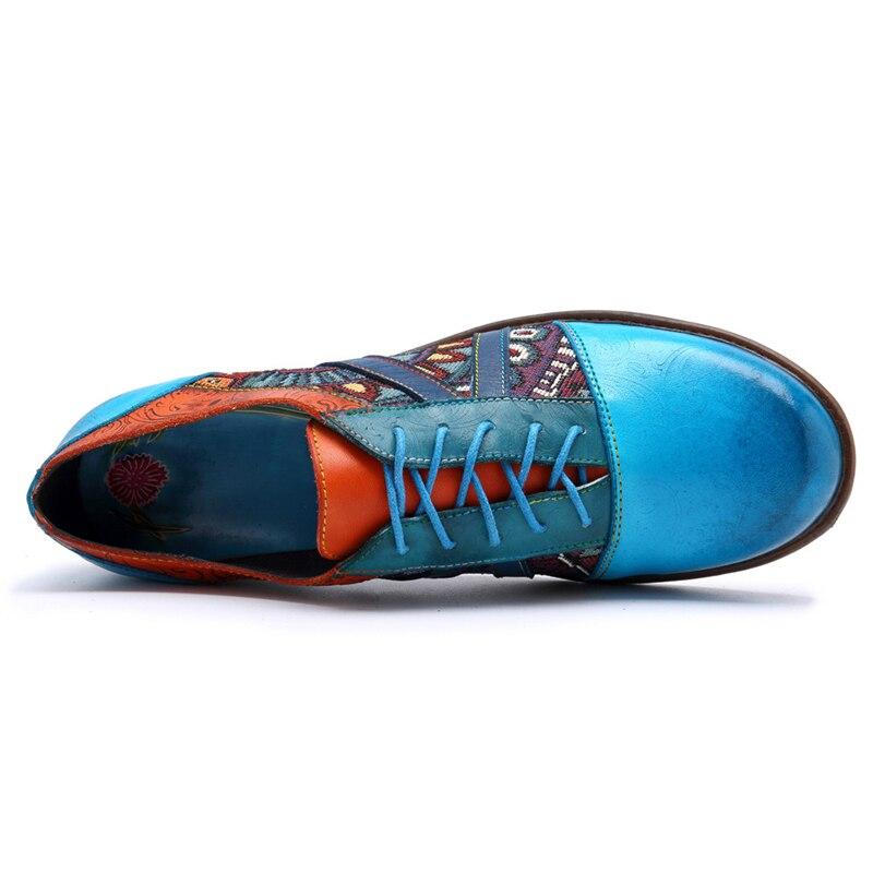 Scarpe Punta Cordones 2019 Patchwork Redonda Zapatos Estilo Mujeres Azul Color Retro De Casuales Las Encaje Buono Mixto Pisos Totem dxZTgqAdw