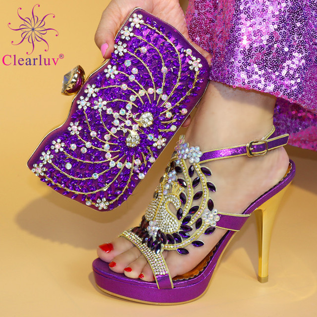 88580975376 Magenta Color Nigerian Shoes and Matching Bag Ladies Italian Shoes and Bag  Set Decorated with Rhinestone