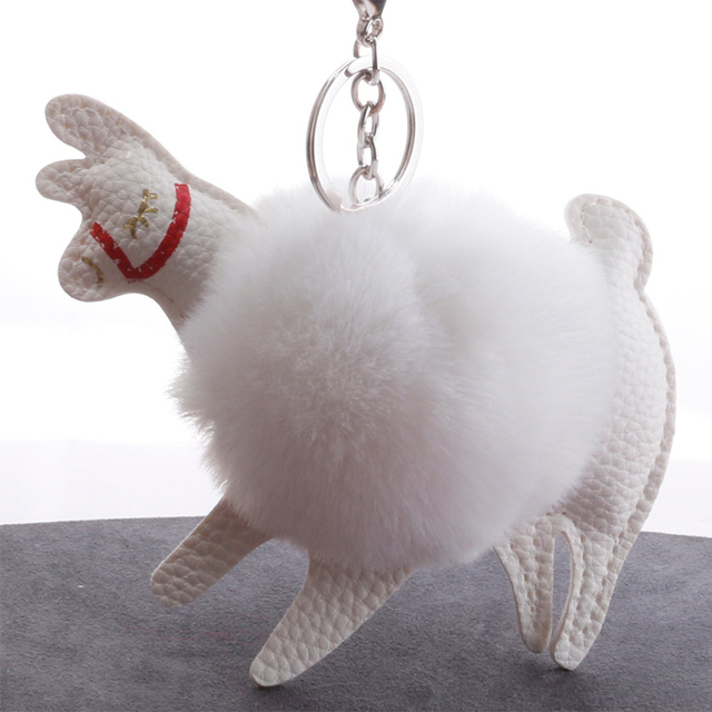 Fluffy Pompom Alpaca Leather Keychains For Car Plush Rabbit Fur Keyring  Keyholder Womens Bag Charm Pendant Trinket Accessories 976dd2187e27c