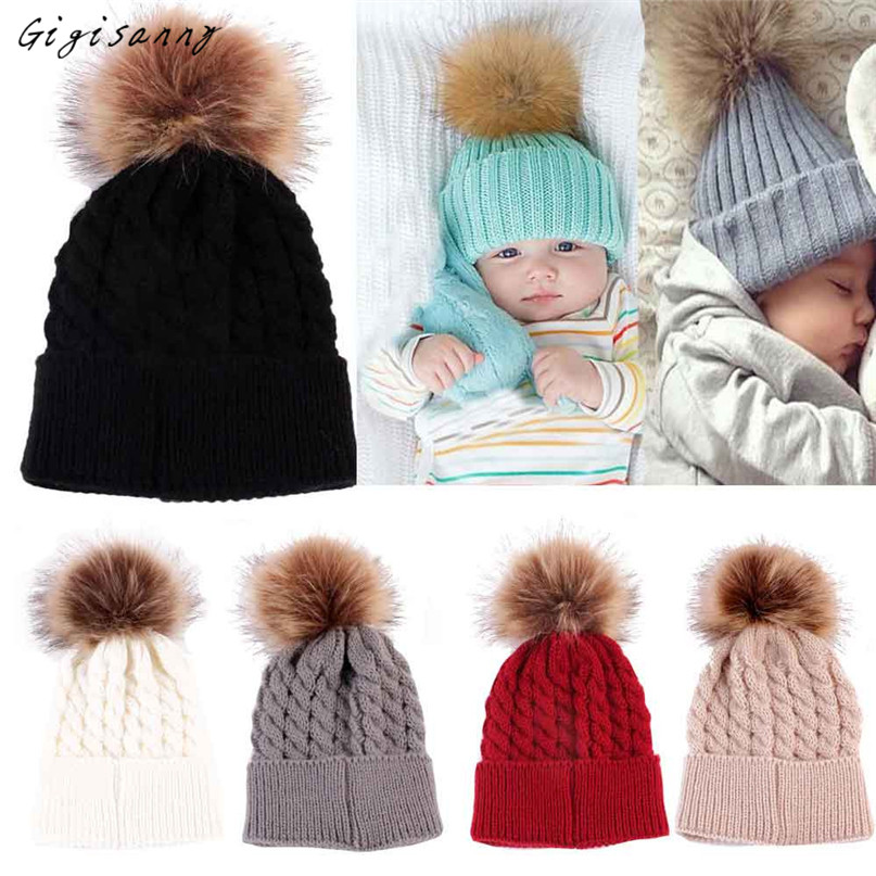 Newborn Hats Cute Winter Baby Hat Fur Ball Pompom Cap Kids Girl Boy Winter Knitted Wool Hats Caps Hot Selling,Dec 16 winter wool red yellow star cap cute knitted hat children boy girl caps
