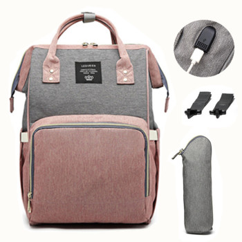 LEQUEEN USB Diaper Bag Baby Care Backpack for Mom Mummy Maternity Wet Bag Waterproof  Baby Pregnant Bag
