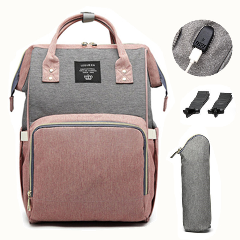 LEQUEEN USB bolsa de pañales bebé mochila para mamá momia maternidad mojado bolsa impermeable bebé embarazada bolsa