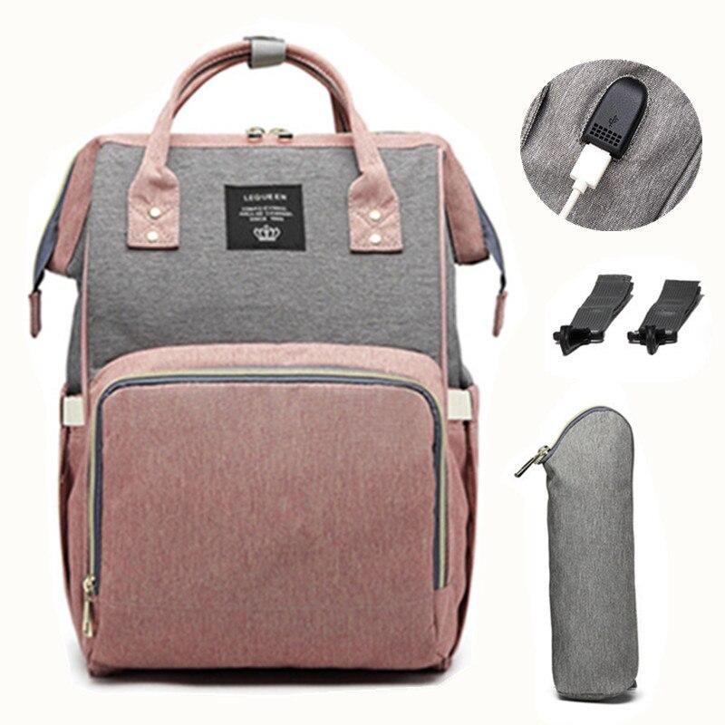 LEQUEEN USB bolsa de pañales para el cuidado del bebé mochila para mamá maternidad bolsa húmeda impermeable bolsa de bebé embarazada