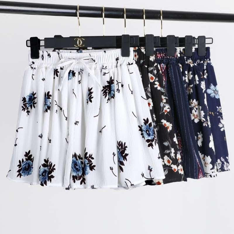 Summer Chiffon   Shorts   Women High Waist Floral Printed   Short   Skirts Women Drawstring   Shorts