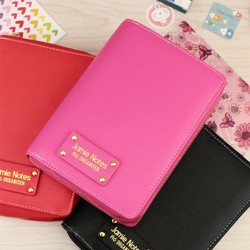 YIWI PU Leather Spiral Loose Leaf Refillable Travel Journal Zipper Dokibook Notebook Filofax Planner Agenda Notepad Binder A6