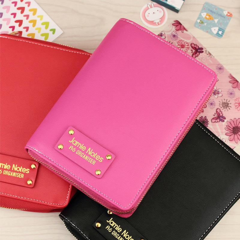 YIWI PU leather Spiral loose leaf Refillable Travel Journal Zipper Dokibook Notebook Filofax Planner Agenda Notepad Binder A6