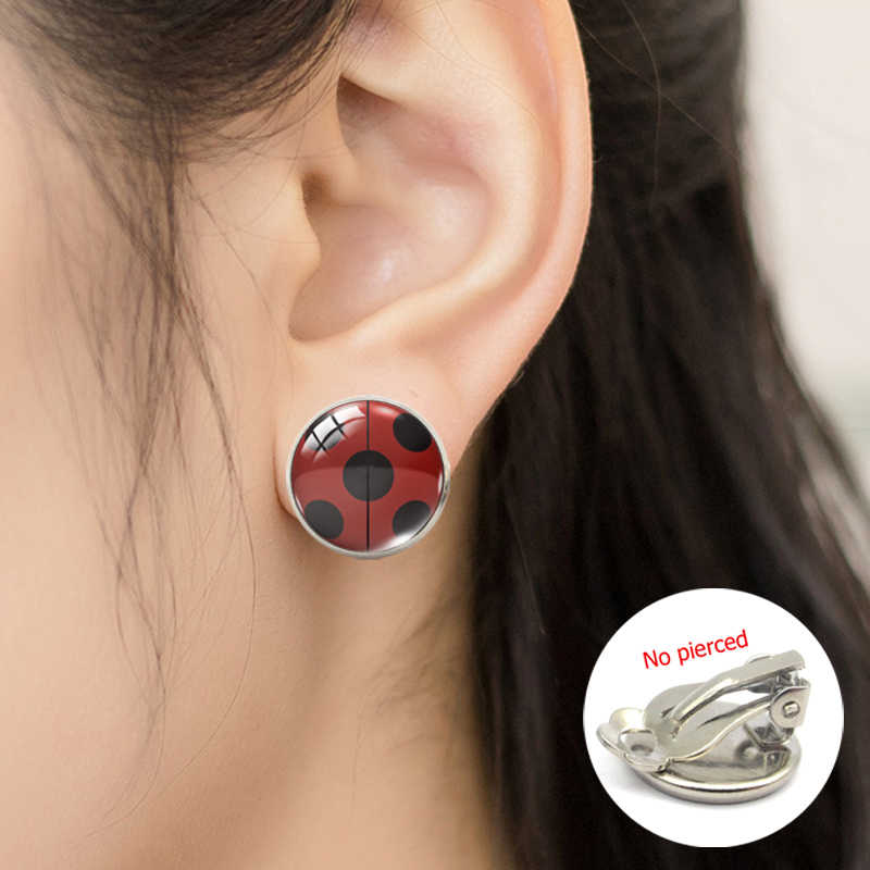 2019 New Fashion Ladybug Cartoon Girl and Cat Anime Glass Clip Earrings Ladybug Jewelry No Pierced Earrings Gifts for Girls