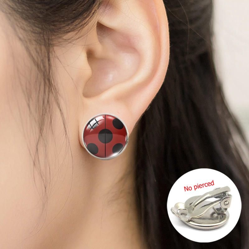 2019 New Fashion Ladybug Insect Cartoon Glass Clip Earrings Cute Ladybug Jewelry No Pierced Earrings Gifts For Girls