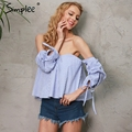 Simplee Sexy off shoulder white blouse shirt Plaid beach white blouse women tops Summer 2017 elegant striped feminine blusas