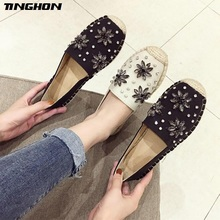 TINGHON Fashion Women Ladies Espadrille Shoes Canvas Rhinestone Flower Hemps Fisherman Flats