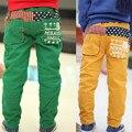 2017 niños de invierno pantalones de lana engrosamiento caliente pantalones de los muchachos patchwork bolsillo de impresión pantalones casuales pantalones de los muchachos de invierno