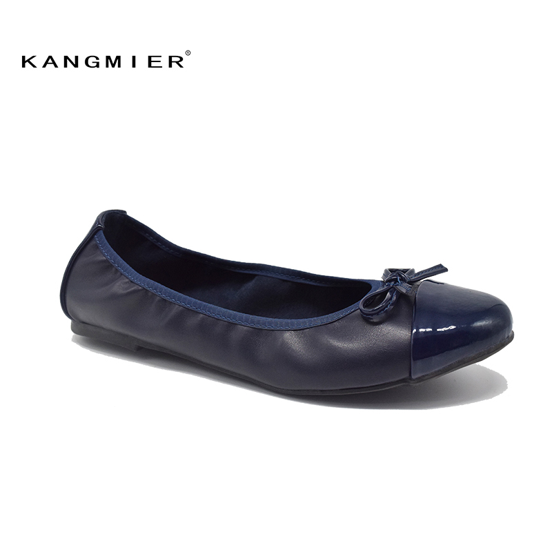 shoes women navy ballet flats Patent leather round toe bow Comfortable casual patchwork woman roll up ballerina flats KANGMIER fashion pointed toe women shoes solid patent pu brand shoes women flats summer style ballet princess shoes for casual crystal