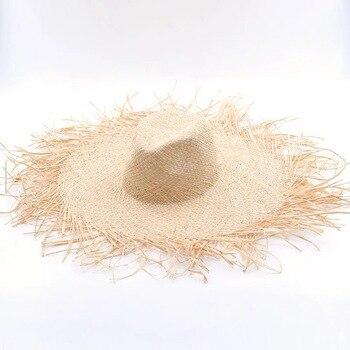 NEW Handmade Women Straw Sun Hats Large Wide Brim Gilrs High Quality Natural Raffia Panama Beach Straw Sun Caps For Holiday 4