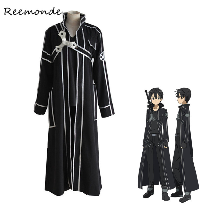 Anime Sword Art Online Kirito Cosplay Costumes Synthetic Wigs Human Hair SAO Kazuto Clothing Full Set For Men Boys  Halloween