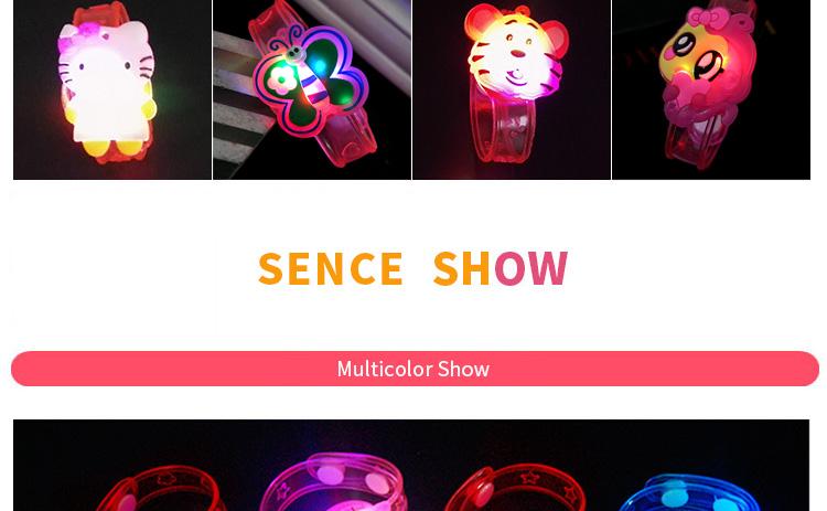 1pcs Cartoon LED Night Light Party Xmas Decoration Colorful LED Watch Toy Boys Girls Flash Wrist Band Glow Luminous Bracelets (4)
