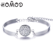 HOMOD 2019 New Fashion Silver Chain Bracelet Lmitation Natural Stone Charms Bracelet Handmade Jewelry For Xmas Gift(China)