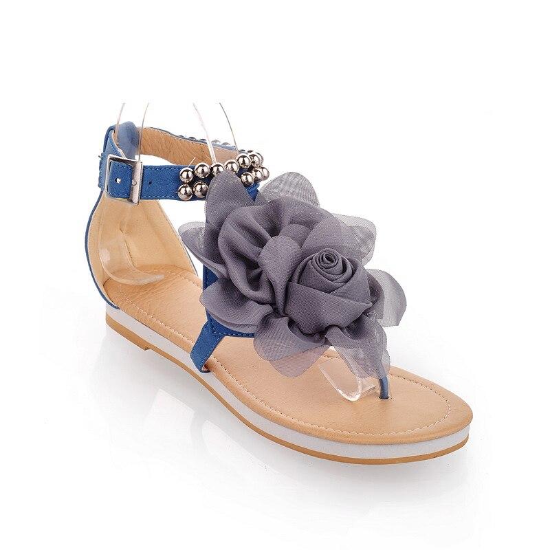Cordón Flops Dama Sandalias azul De Moda Más 31 Flores Tamaño Verano Floral 43 rosado Plana Gran Las Flip 2017 Zapatos Mujeres Beige Sexy w7qxAXX