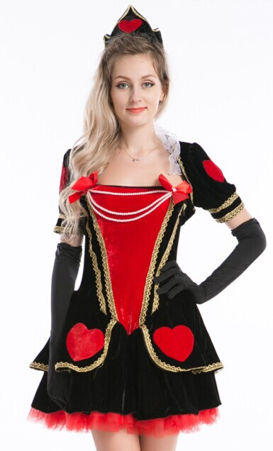 free shipping 2016 New Deluxe Luxurious Red Sexy Halloween Dress for girl - Red with Black wholesale party costume size s-3xl