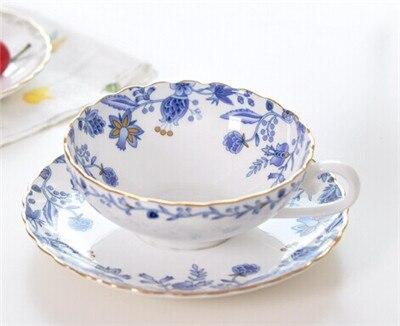 Blue And White Porcelain Ceramic Bone China Coffee Cup Set Red Tea Mug Dazzle