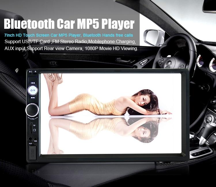 2 Din MP5 Car Player Radio MP4 MP3 7 Touch Display Bluetooth USB Autoradio Car Multimedia Player W/Backup Monitor Camera 7010B цена