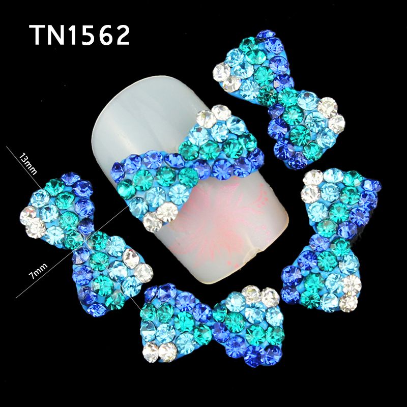 Blueness 10pcs/lot Glitter Blue 3D Crystal Rhinestones on Nail Art  Decoration Alloy Bow Design Manicure Jewelry Supplies TN1562 10pcs glitter crystal nail gem rhinestones alloy 3d nail art jewelry diy phone case decoration mns784