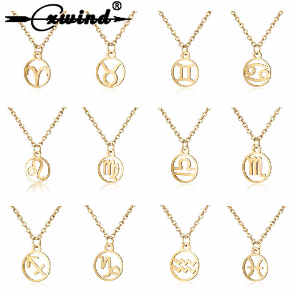 Cxwind 12 Zodiac Sign Pendant Necklace Stainless Steel Horoscope Astrology Round choker Necklace For Women Constellation Jewelry